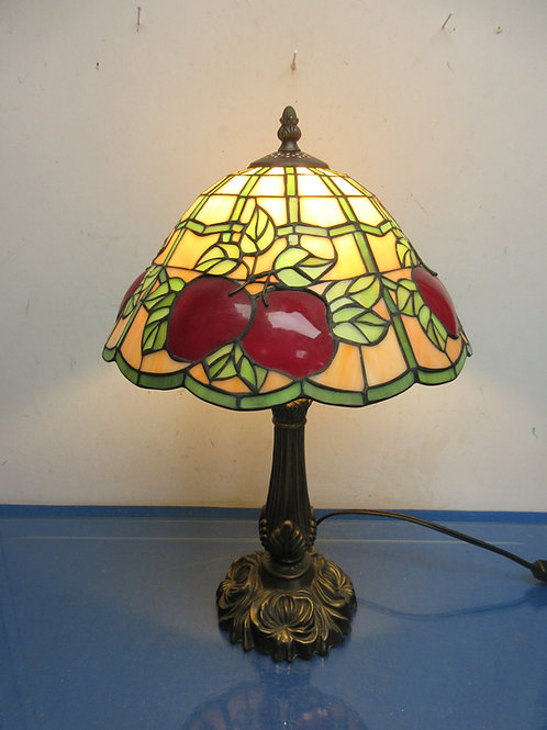 "Metal base table lamp with Tiffany style apple shade, 18"" high"
