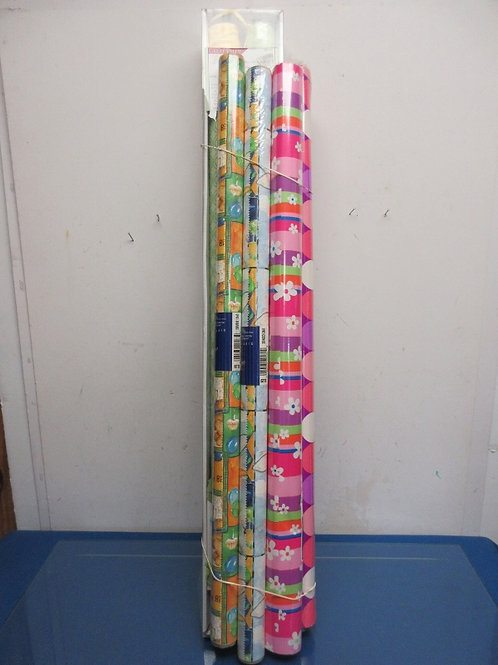 Set of 6 rolls of assorted gift wrap-solid, pastel, birthday & pink/purple