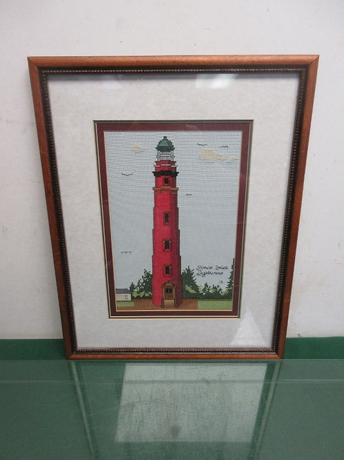 """Ponce Inlet needle point light house-wood frame with white mat 14x17"""""""