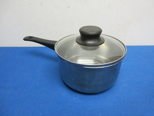 Small stainless saucepan with glass lid