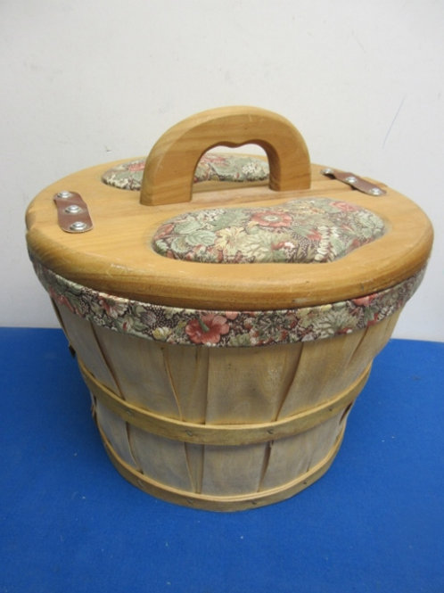 Wicker basket with flip up lid, floral fabric accent & handle