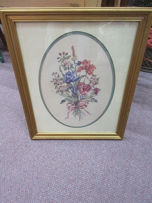 Print of floral bouquet with oval mat & gold wood frame 18x23
