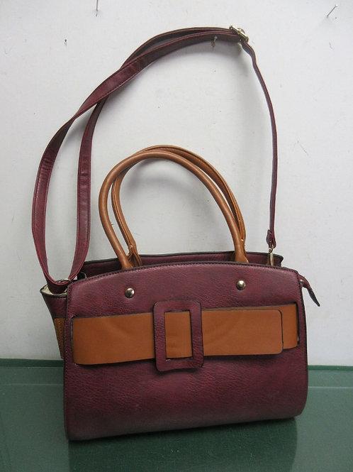 Burgundy & brown leather purse