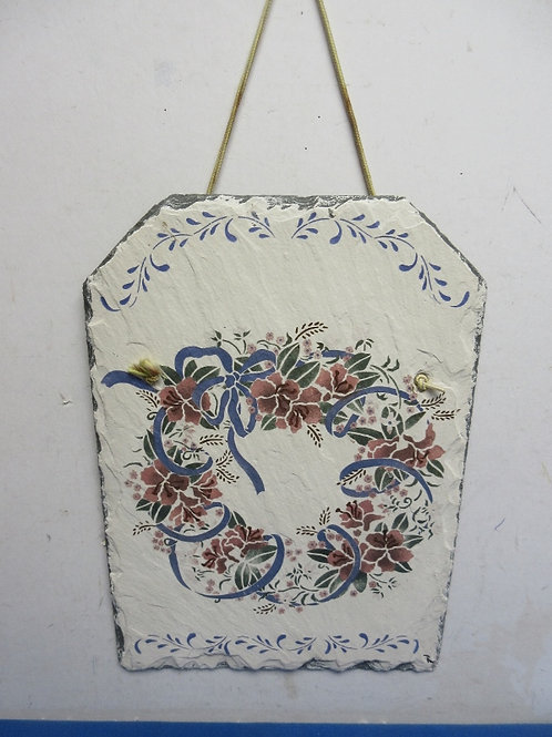 """Slate wall hanging, floral design 10x14"""""""