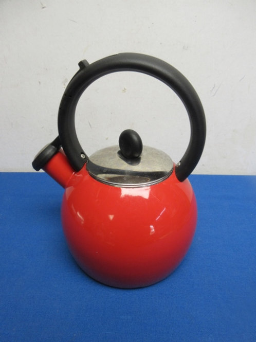 Red copco whistling tea kettle