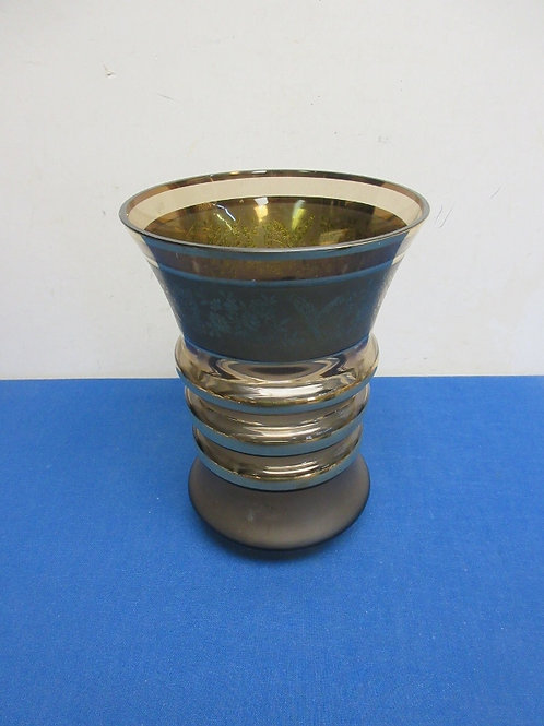 """Gold tone wide mouth glass vase, 9"""""""