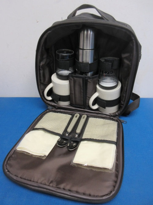 Black carry bag with coffee thermos 2 cups and other accessories - never used