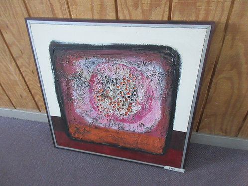 Abstract textured painting in wood frame