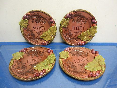 "Set of 4 Grasslands Road dimensional 8"" plates, each has ""plenty"" on it"