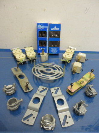 Assorted electrical parts, 5 grounded plugs, electrical box parts and more