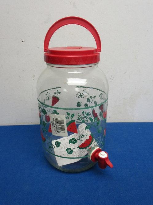 Glass watermelon design drink dispenser with spigot, New