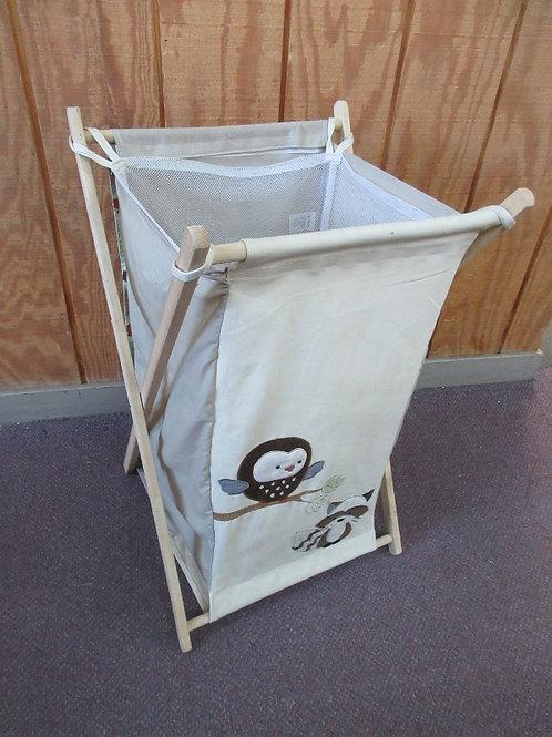 Folding wooden frame hamper with cloth bag, Owl design