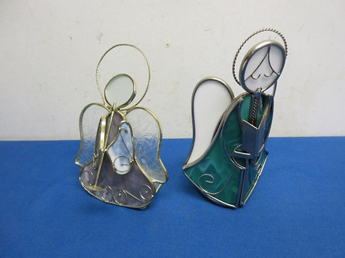 Pair of stained glass angel tea light candle holders