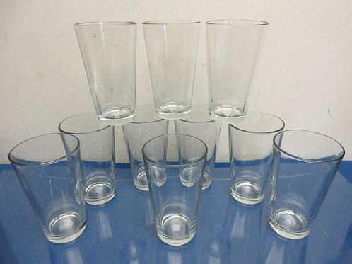 Set of 10 glass tumblers