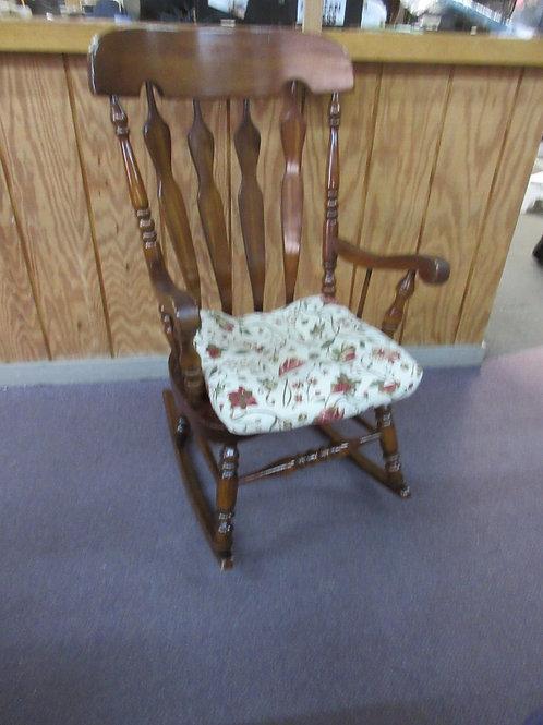 Solid oak dark rocking chair with cushion