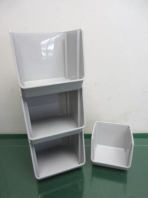 Set of 4 gray desktop organizers - 3 large and 1 small