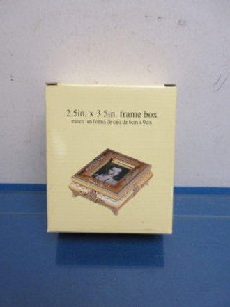 Gold metal keepsake box with slot for picture in lid - new in box