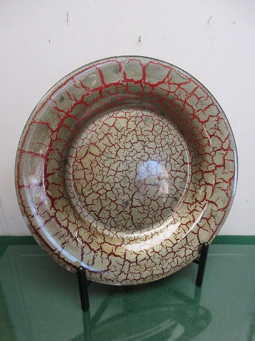 """Large crackled decorative plate with stand 19"""" dia"""