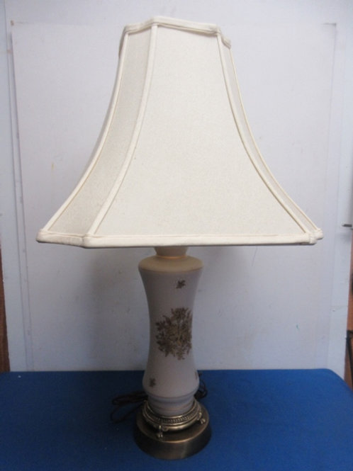 Antique Ivory base lamp with ivory shade - gold floral design on base