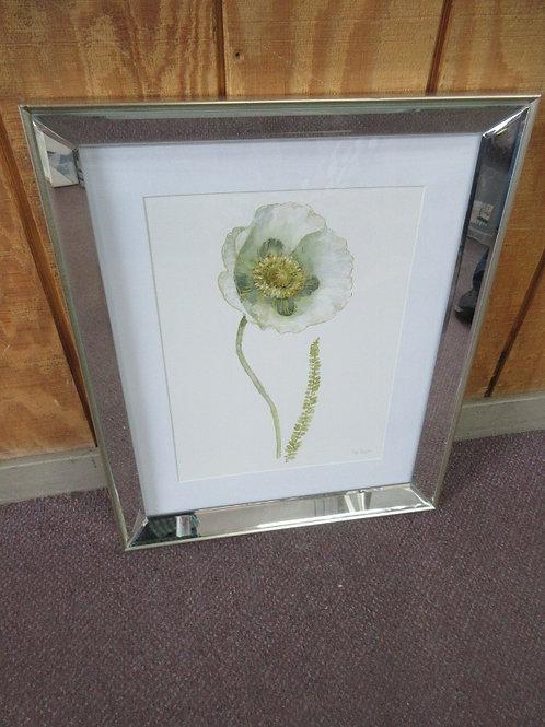Watercolor print of a poppy, white mat shiny chrome frame 18x22