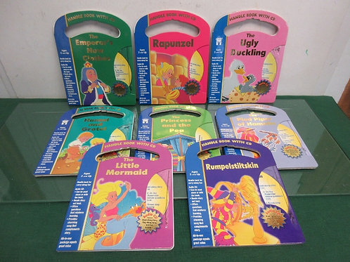 Set of 8 handle books, each w/CD, hansel& gretel, pied piper, rupunzel