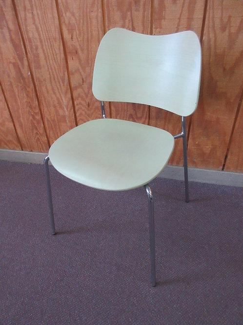 Lammhults Swedish side chair, handmade formed wood chair, chrome base