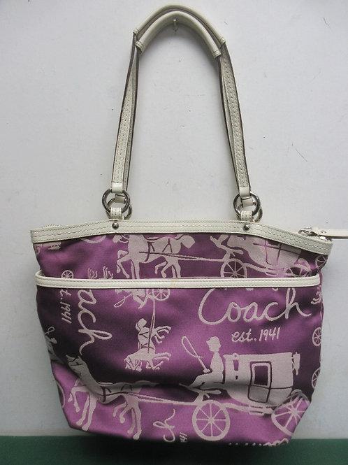 Coach purple and beige cloth purse