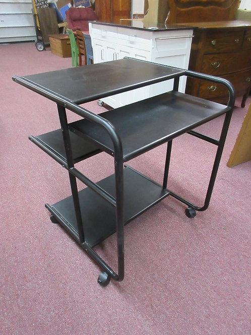 Multi level black computer desk on wheels