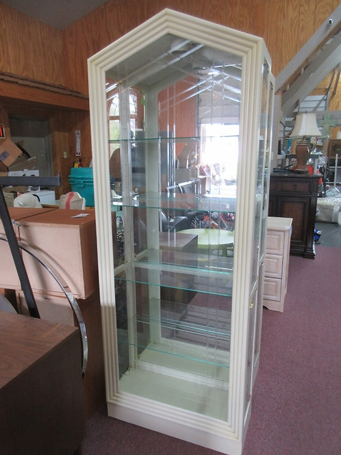 "White washed lighted glass curio w/mirror back & 4glass shelves,13x30x80"" high"