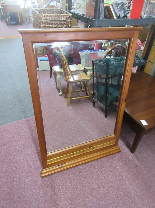 """Light tone wooden framed beveled mirror with hanging wire 30x44"""""""