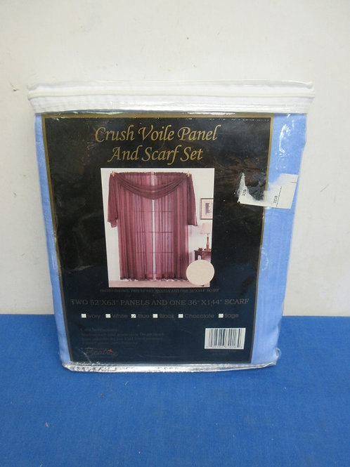 """Crush Voile (52x63"""") panels and scarf (36x144"""") set"""