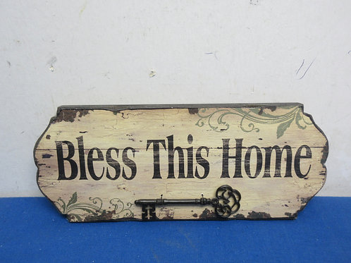 Bless this home wall sign with a large skeleton key 5x12