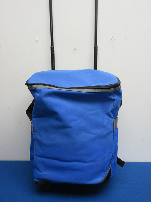 Blue insulated cooler on wheels