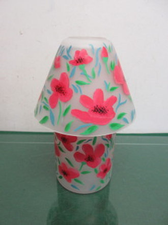 Frosted glass jar candle style lamp with pink flower design - holds jar candle