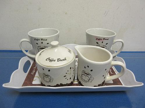 Coffee break set, tray, 2 cups, suagar and creamer