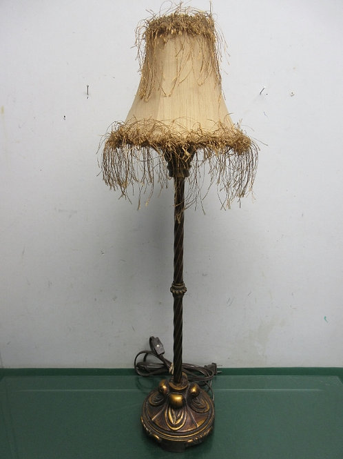 """Gold stick lamp with tan feathered shade 25""""high, 2 available"""