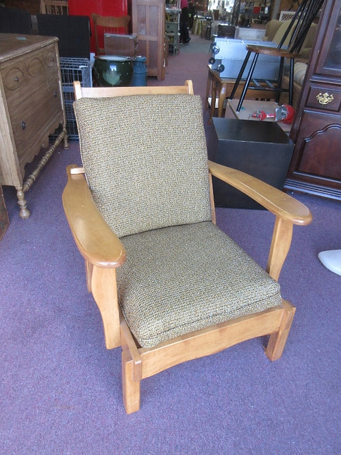 Maple wood arm chair with adj back and tan upholstered cushions