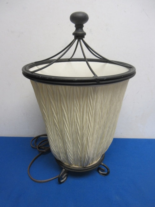 """Torch style tabletop lamp with beige shade, 15"""" tall"""