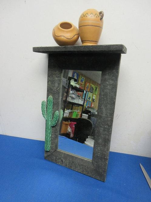 Southwestern theme wall mirror with shelf on top
