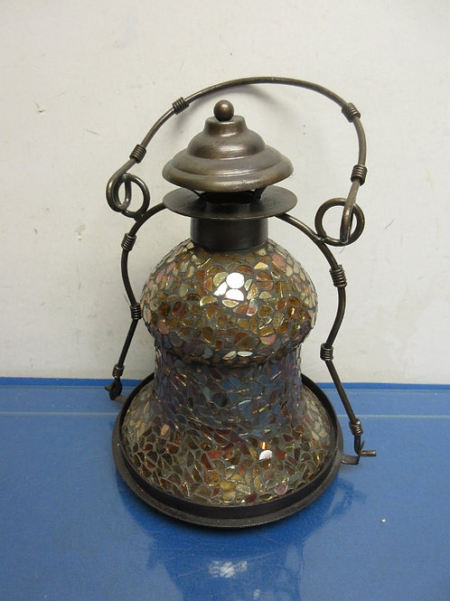 Copper mosaic brown metal bell shaped candle holder with handle