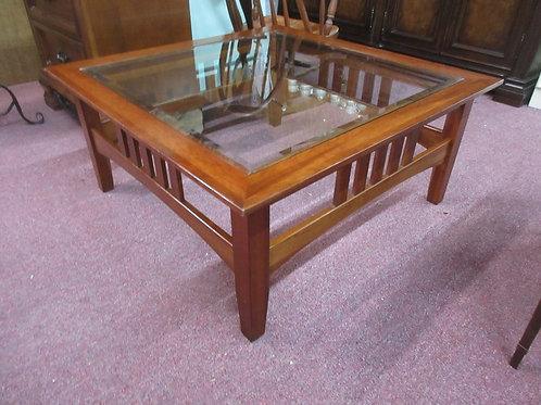 """Ethan Allen mission style cherry coffee table with beveled glass top 38x38x17""""hi"""
