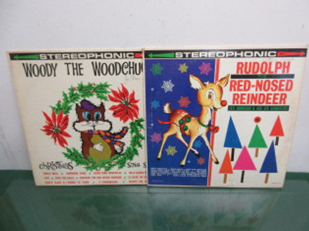 Pair of vintage childrens christmas albums, Rudolph the Red Nosed Reindeer, Wood