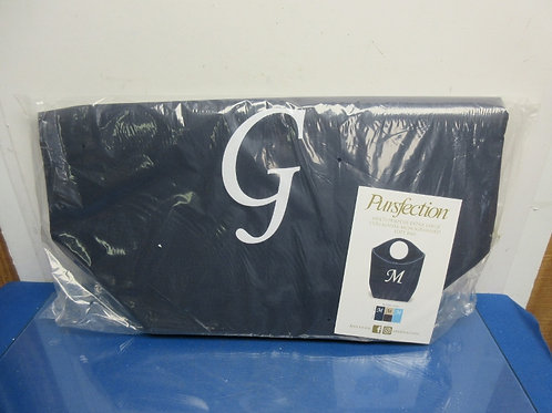 "Pursfection multi purpose xl monogrammed navy tote - initial ""G"" - brand new"