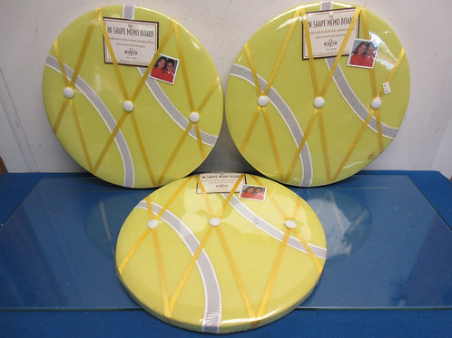 Set of 3 In-Shape memo boards, round, yellow