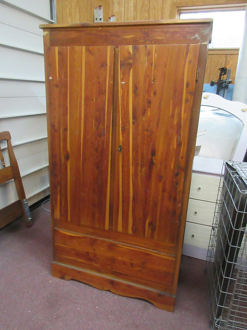 Antique cedar wardrobe with hanging bar