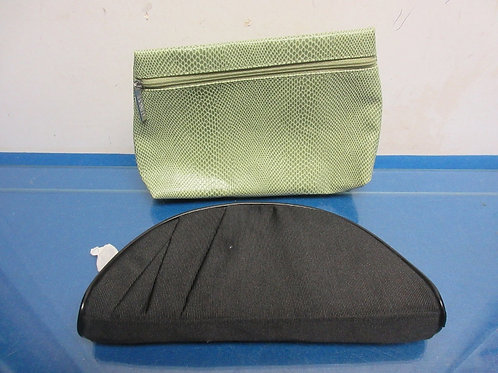 Pair of cosmetic bags, black and green faux snake skin
