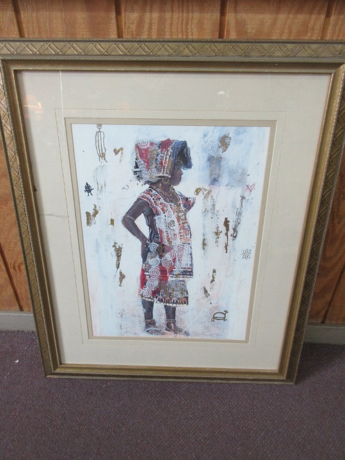 Large African print-child in native outfit( gold foil accents one crack in glass