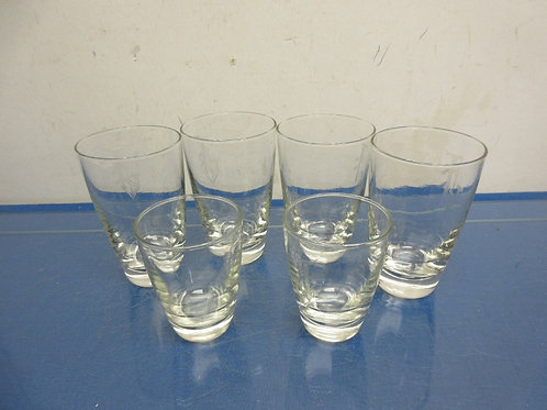 """Set of 6 glasses with etched """"J"""" initial four 8oz and two 4oz"""