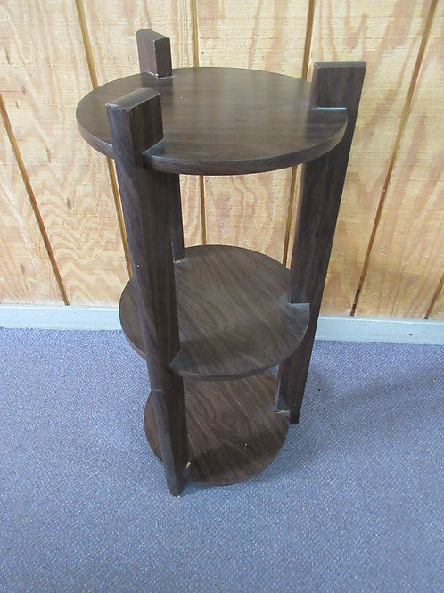 "Dark wood round plant stand with 3 shelves, 13"" dia x 30"" tall"