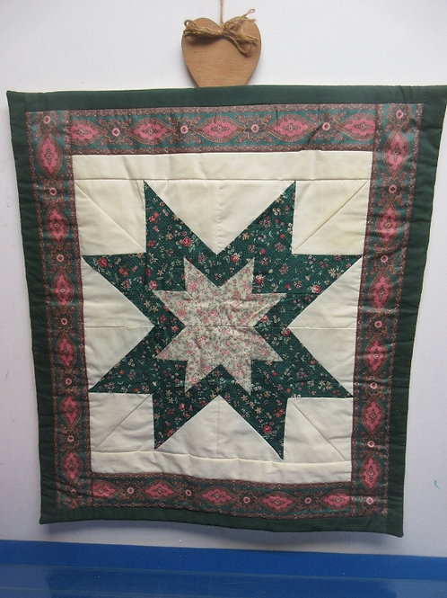 Shades of green handmade star pattern quilt wall hanging - 21x23